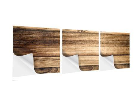 Panorama Klebeposter 3-teilig Holztrend