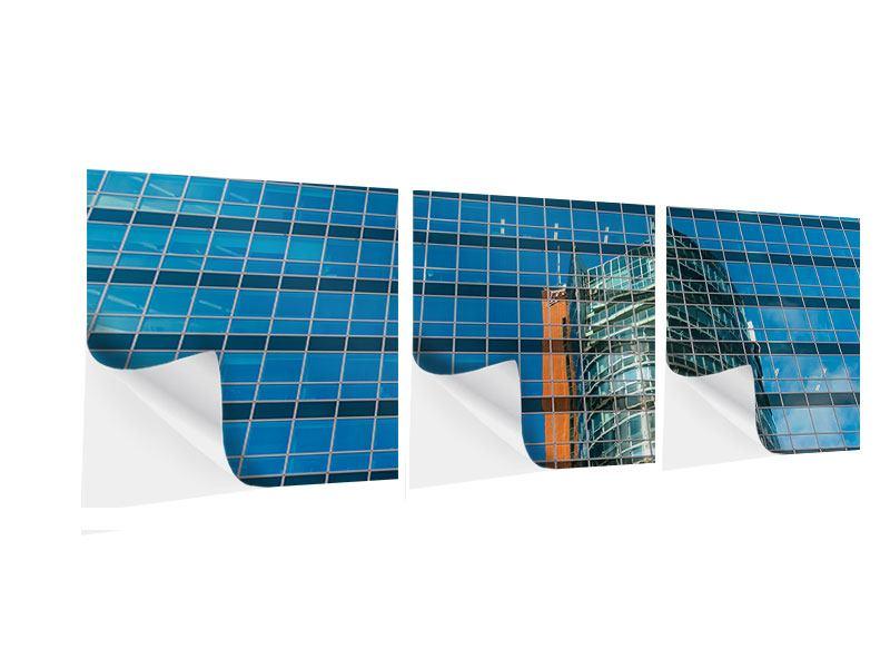 Panorama Klebeposter 3-teilig Wolkenkratzer-Spiegel