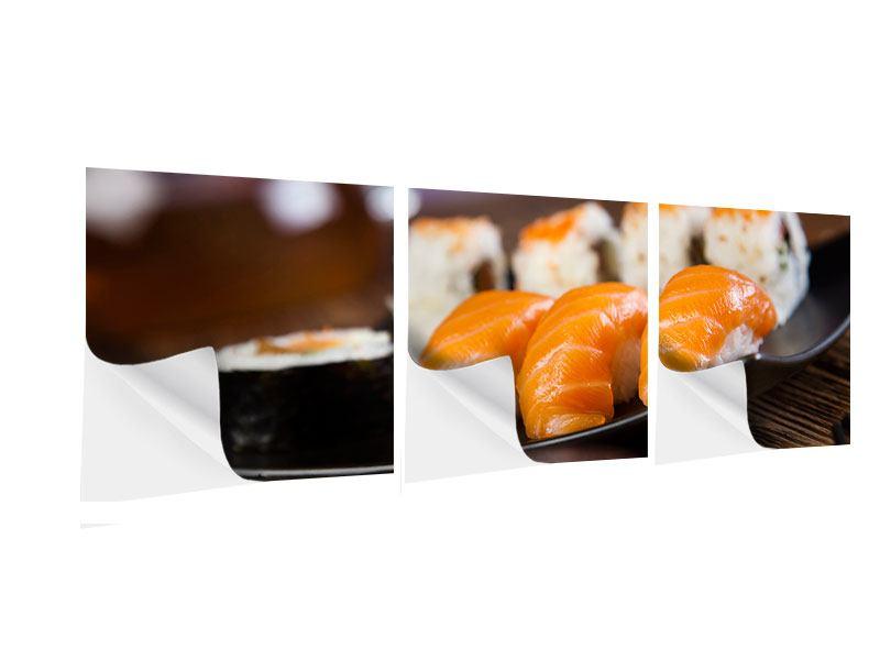 Panorama Klebeposter 3-teilig Sushi-Gericht