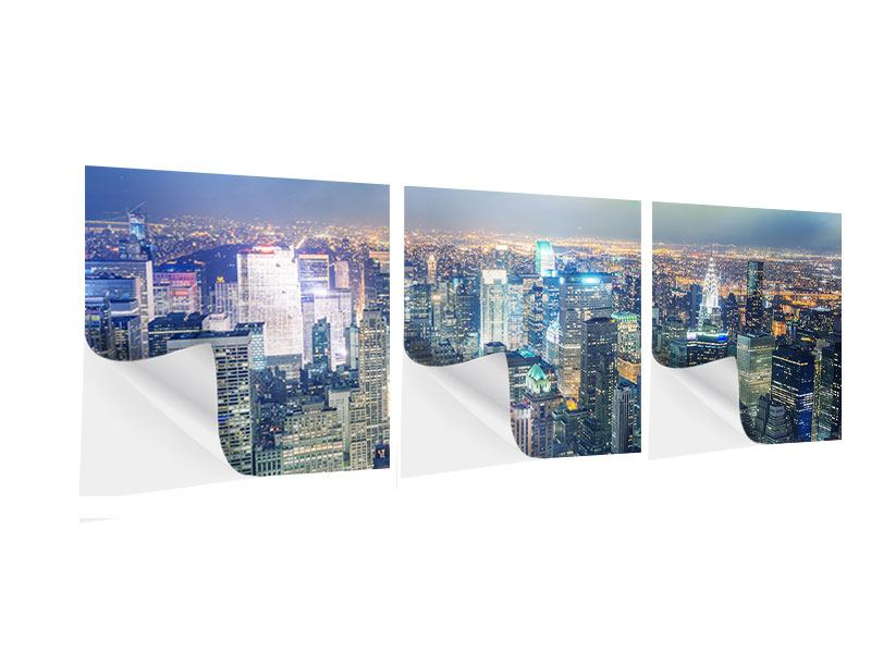 Panorama Klebeposter 3-teilig Skyline NY bei Sonnenuntergang