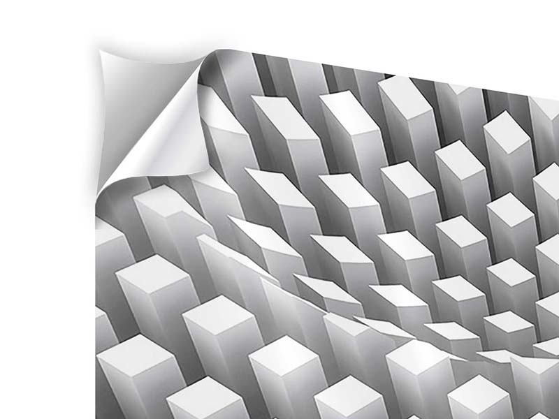 Panorama Klebeposter 3-teilig 3D-Rasterdesign