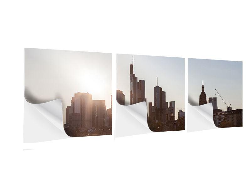Panorama Klebeposter 3-teilig Skyline Sonnenaufgang bei Frankfurt am Main