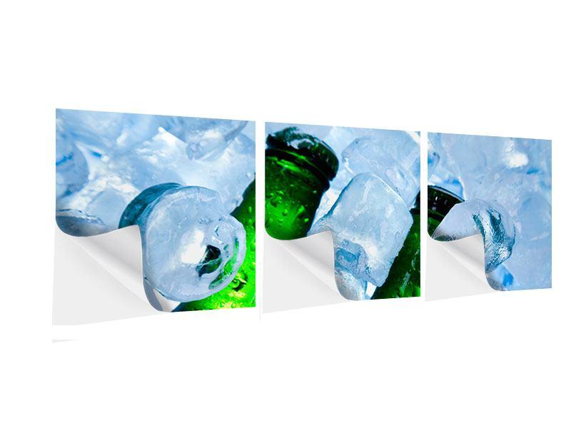 Panorama Klebeposter 3-teilig Eisflaschen