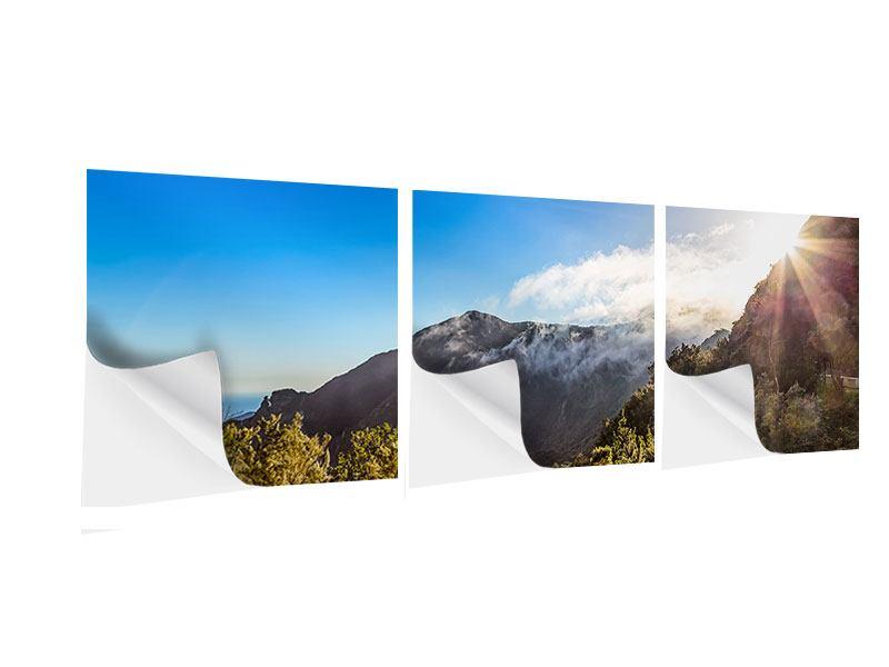 Panorama Klebeposter 3-teilig Berge am Meer