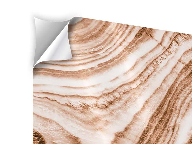 Panorama Klebeposter 3-teilig Marmor in Sepia