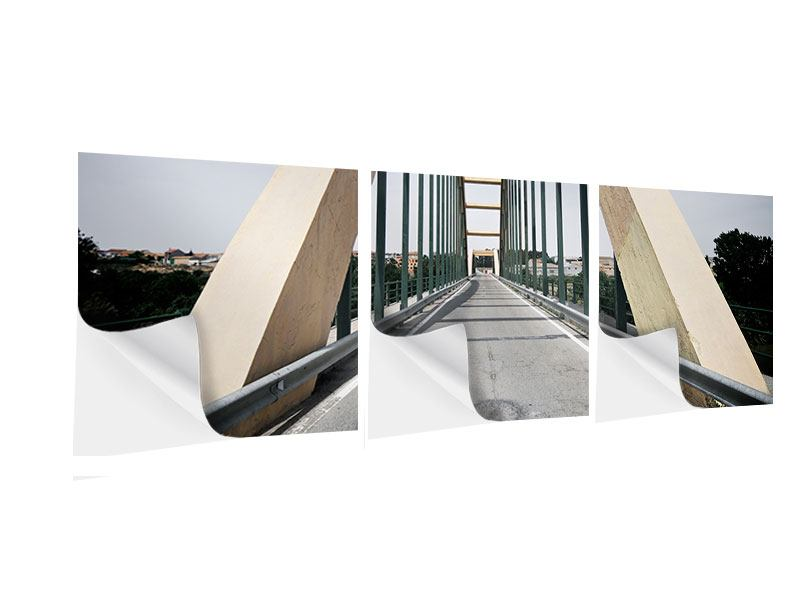 Panorama Klebeposter 3-teilig Imposante Hängebrücke