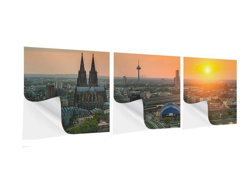 Panorama Klebeposter 3-teilig Skyline Köln bei Sonnenuntergang