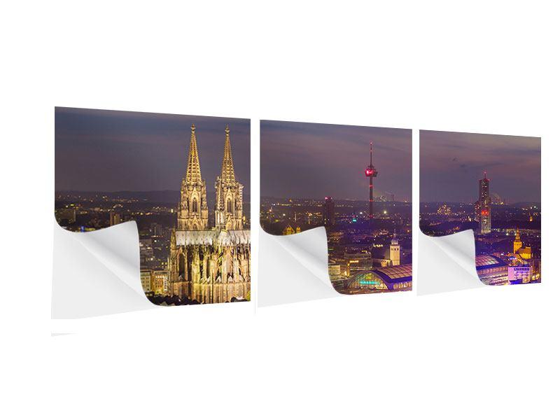 Panorama Klebeposter 3-teilig Skyline Kölner Dom bei Nacht