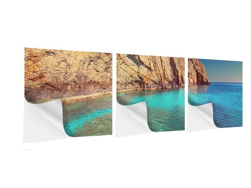 Panorama Klebeposter 3-teilig Wasser