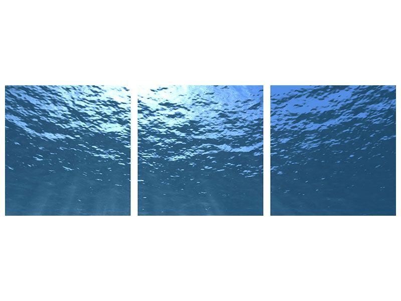 Panorama Klebeposter 3-teilig Sonnenstrahlen unter Wasser