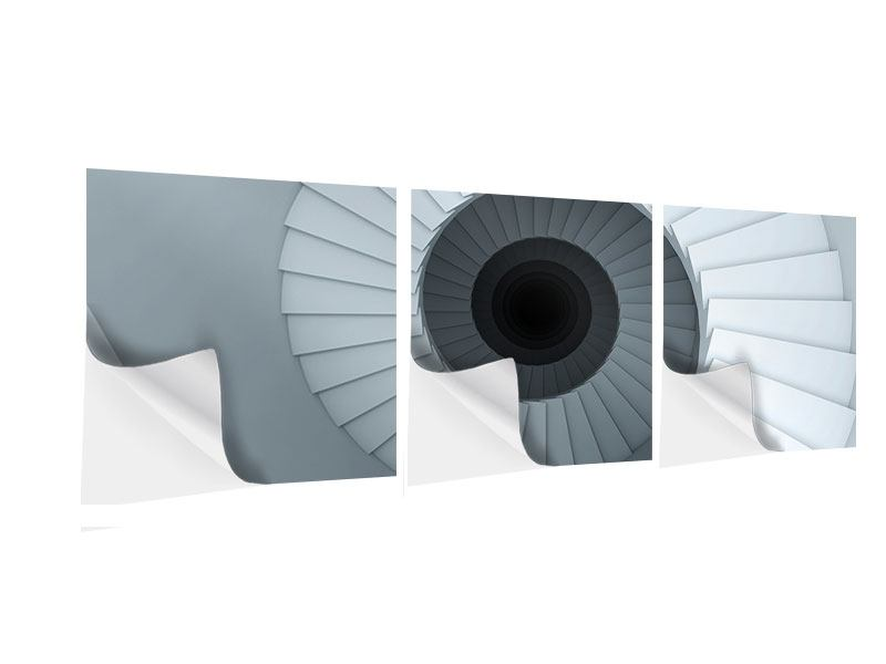 Panorama Klebeposter 3-teilig 3D Wendeltreppe