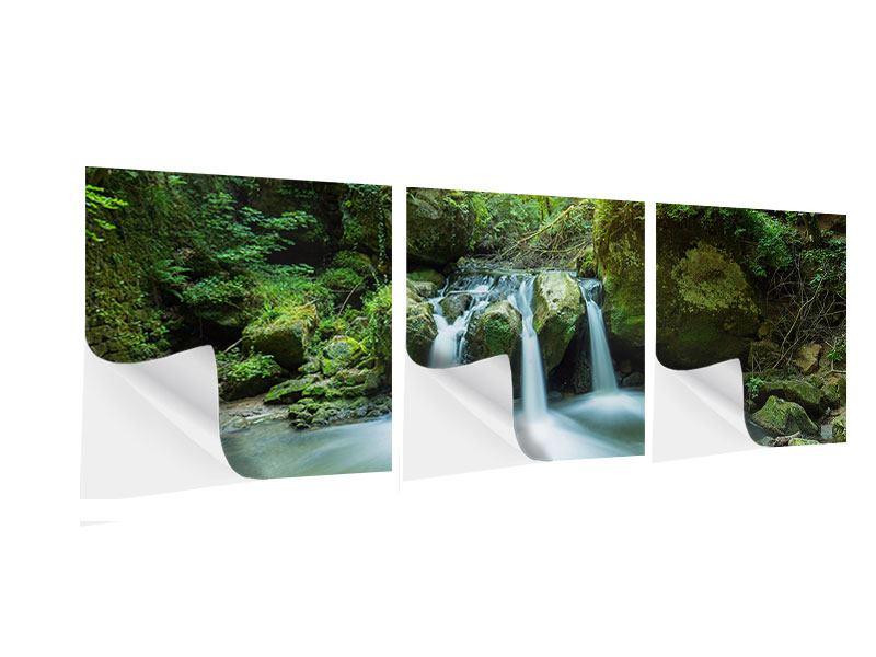 Panorama Klebeposter 3-teilig Wasserspiegelungen