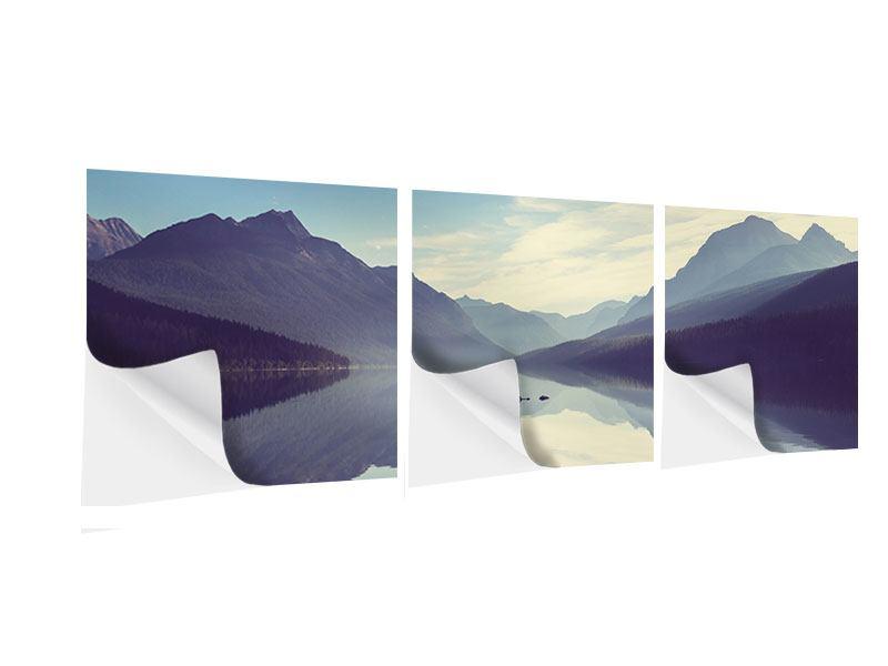Panorama Klebeposter 3-teilig Bergspiegelung