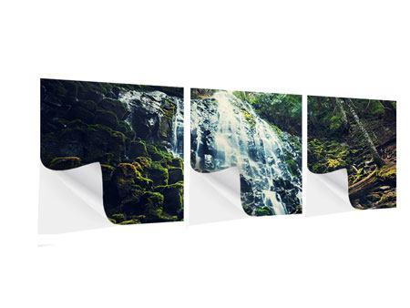 Panorama Klebeposter 3-teilig Feng Shui & Wasserfall