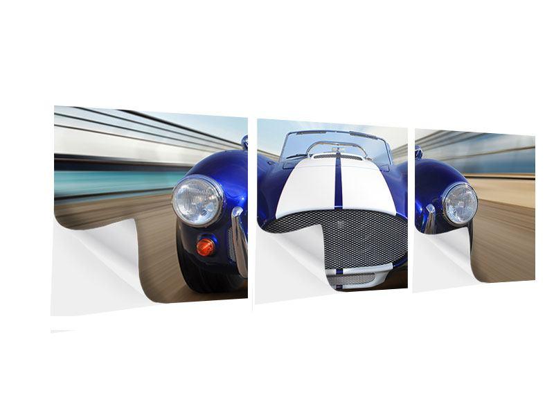 Panorama Klebeposter 3-teilig Rennwagen