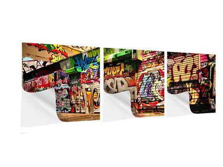 Panorama Klebeposter 3-teilig NY Graffiti