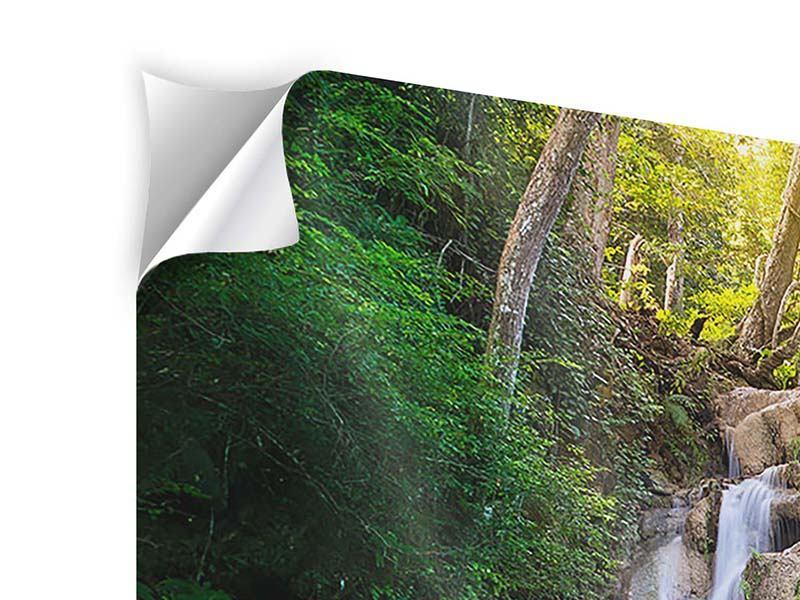 Panorama Klebeposter 3-teilig Terrasse am Wasserfall