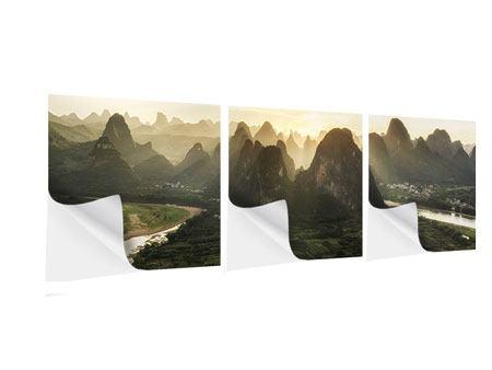 Panorama Klebeposter 3-teilig Die Berge von Xingping