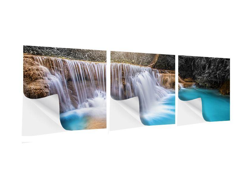Panorama Klebeposter 3-teilig Glücklicher Wasserfall