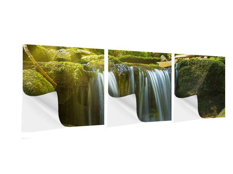 Panorama Klebeposter 3-teilig Schönheit des fallenden Wassers