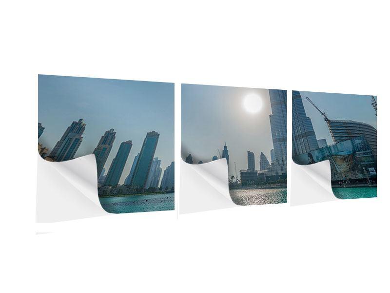 Panorama Klebeposter 3-teilig Wolkenkratzer-Architektur Dubai