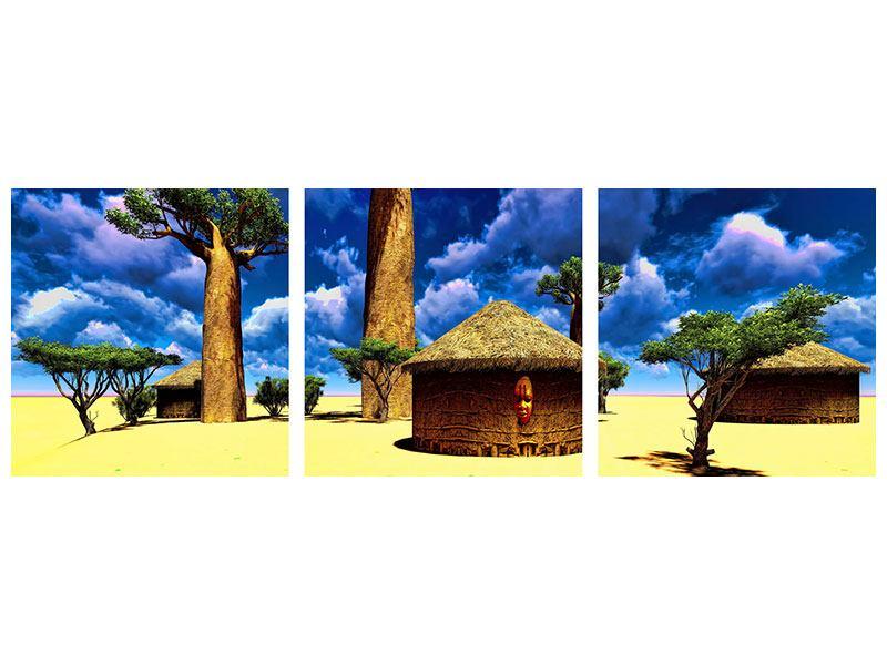 Panorama Klebeposter 3-teilig Ein Dorf in Afrika