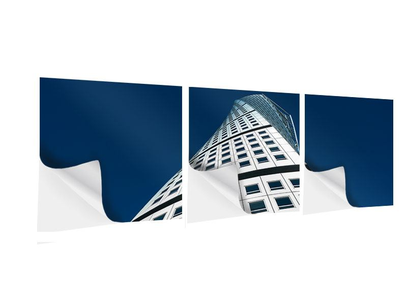 Panorama Klebeposter 3-teilig Meisterstück Wolkenkratzer