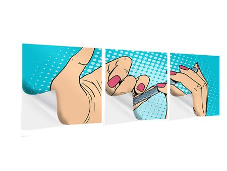Panorama Klebeposter 3-teilig Pop Art Nails