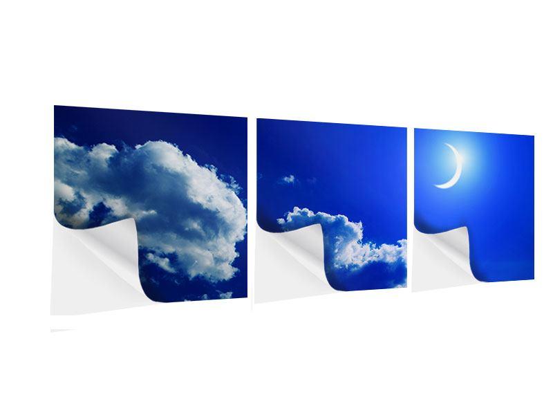 Panorama Klebeposter 3-teilig Der Mond
