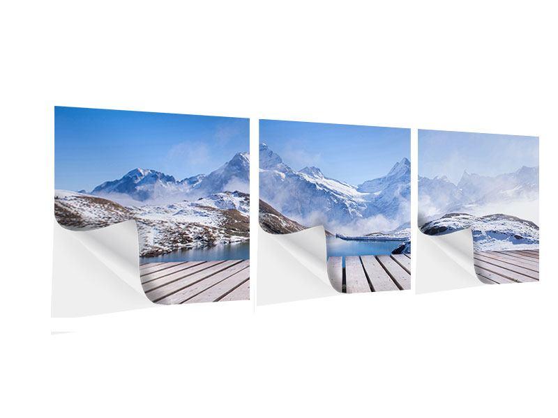 Panorama Klebeposter 3-teilig Sonnenterrasse am Schweizer Bergsee