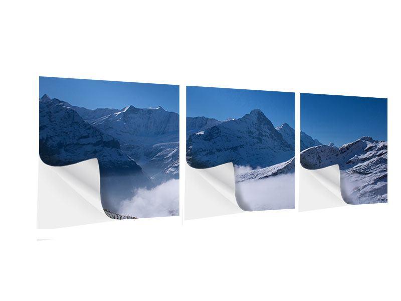 Panorama Klebeposter 3-teilig Sonnenterrasse in den Schweizer Alpen