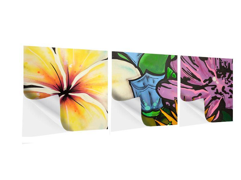 Panorama Klebeposter 3-teilig Graffiti Flowers