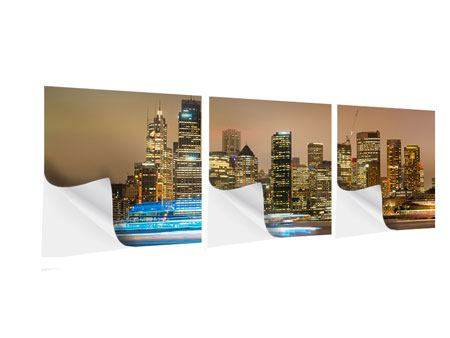 Panorama Klebeposter 3-teilig Skyline Sydney im Lichtermeer