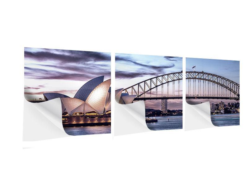 Panorama Klebeposter 3-teilig Skyline Sydney Opera House