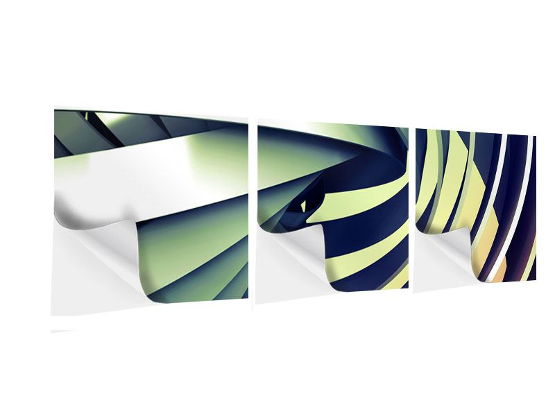 Panorama Klebeposter 3-teilig Abstrakte Perspektiven
