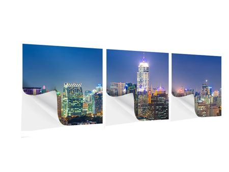 Panorama Klebeposter 3-teilig Skyline One Night in Bangkok