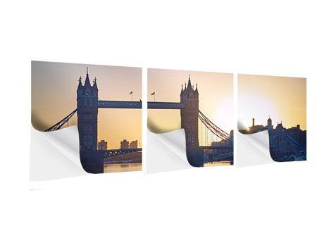 Panorama Klebeposter 3-teilig Tower Bridge bei Sonnenuntergang