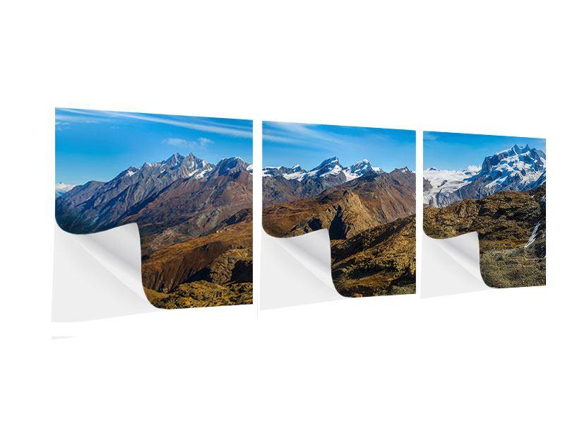 Panorama Klebeposter 3-teilig Schweizer Alpen im Frühling