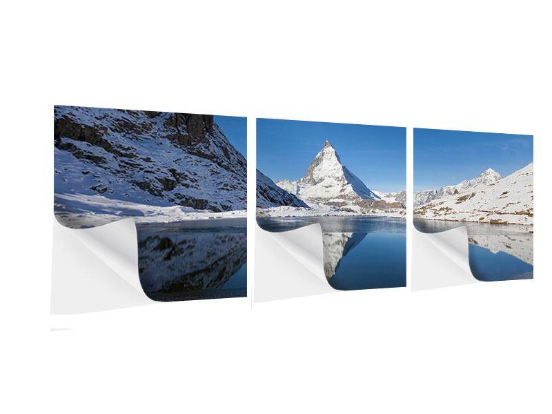 Panorama Klebeposter 3-teilig Der Riffelsee am Matterhorn