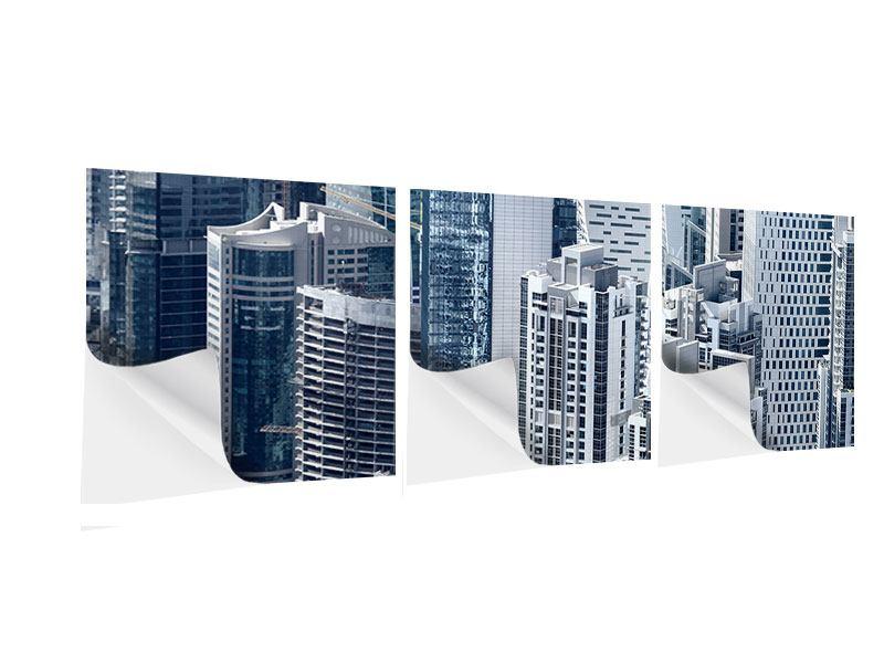 Panorama Klebeposter 3-teilig Die Wolkenkratzer von Dubai