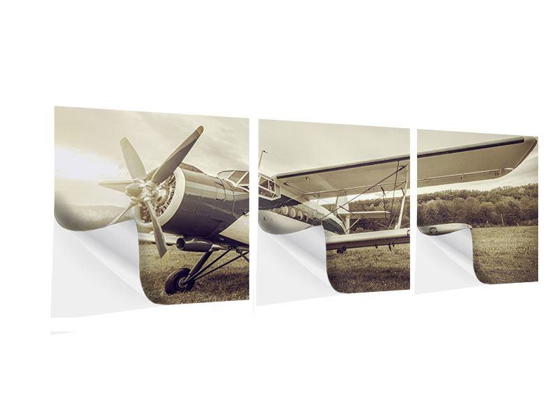 Panorama Klebeposter 3-teilig Nostalgisches Flugzeug im Retrostyle