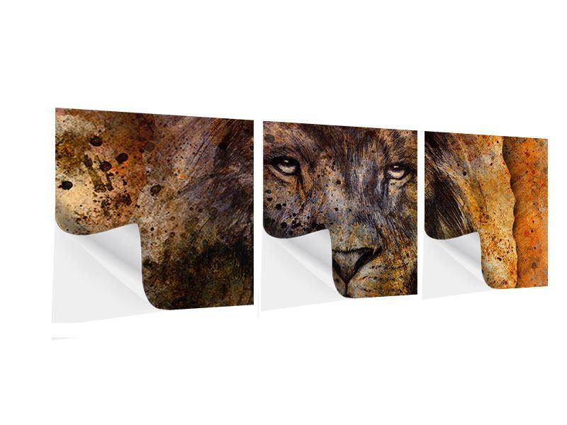 Panorama Klebeposter 3-teilig Portrait eines Löwen
