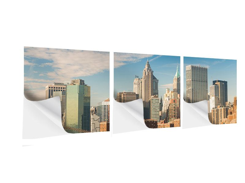 Panorama Klebeposter 3-teilig Skyline New York