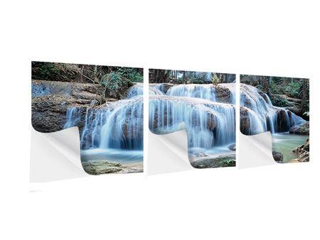 Panorama Klebeposter 3-teilig Ein Wasserfall