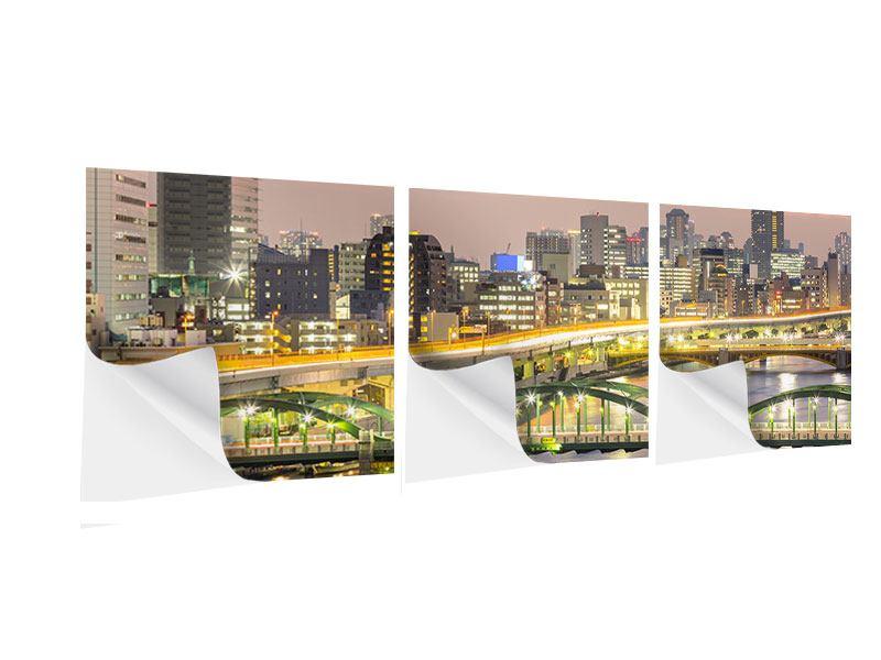Panorama Klebeposter 3-teilig Skyline Das Lichtermeer von Tokio