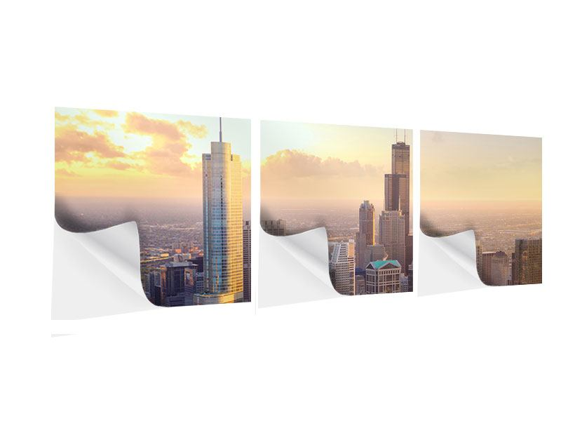 Panorama Klebeposter 3-teilig Skyline Chicago