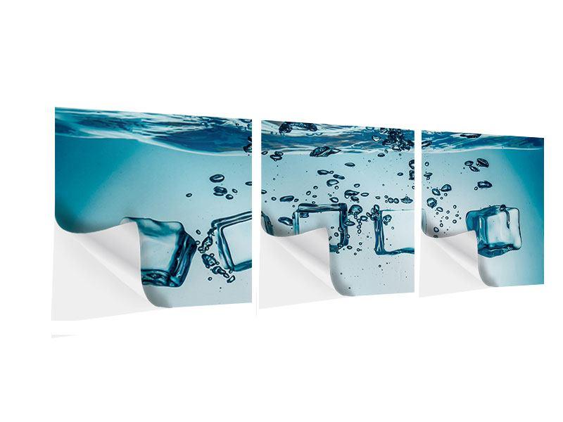 Panorama Klebeposter 3-teilig Eiswürfel-Quadro