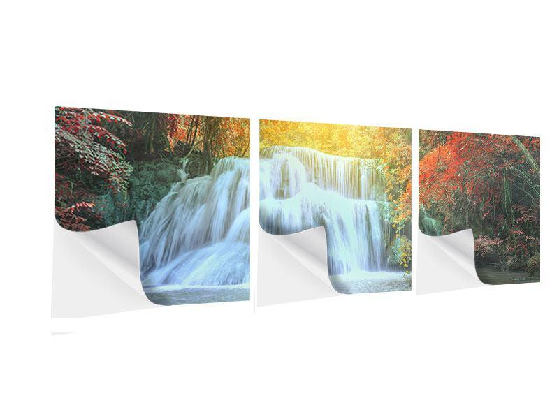 Panorama Klebeposter 3-teilig Wasserfall im Licht