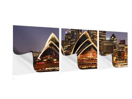 Panorama Klebeposter 3-teilig Skyline Mit dem Boot vor Sydney