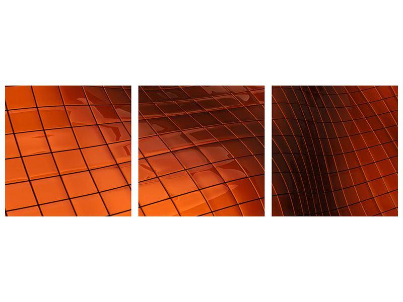 Panorama Klebeposter 3-teilig 3D-Kacheln